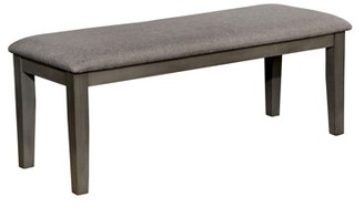 Furniture of America Tristen Transitional Style Gray Fabric Dining Bench