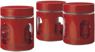 Maxwell & Williams Cosmopolitan Colours Canister, 600ml (Set of 3), Greenbo Red