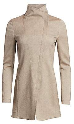 Akris Punto Women's Long Stretch-Wool Twill Moto Jacket