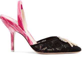 ATTICO Mara Embellished Velvet And Lace Slingback Pumps - Black