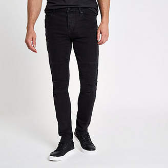 River Island Only and Sons black slim fit biker panel jeans