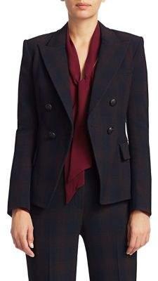 Elie Tahari Jezebel Shadow Plaid Double Breasted Suiting Jacket