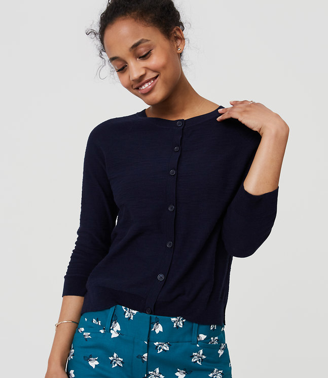 Textured 3/4 Sleeve Cotton Cardigan