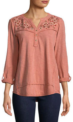 Style&Co. STYLE & CO. Three-Quarter-Sleeve Embroidered Top