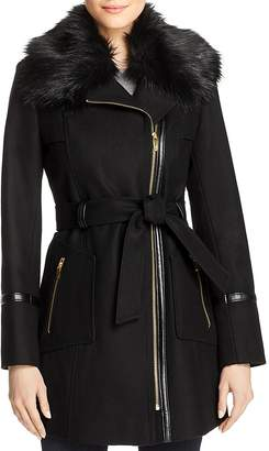 Via Spiga Faux Fur-Collar Asymmetric Belted Coat
