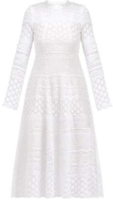 Carolina Herrera Macrame Long Sleeved Cotton Dress - Womens - White