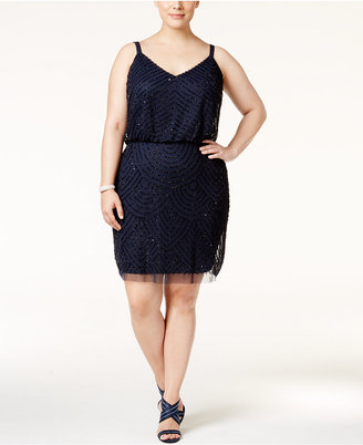 Adrianna Papell Plus Size Embellished A-Line Cocktail Dress $230 thestylecure.com