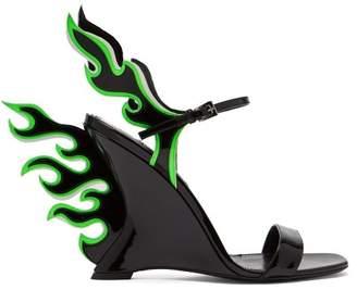 Prada Flame Patent Leather Sandals - Womens - Black Green