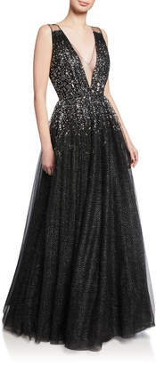 Jenny Packham Samar Beaded V-Neck Ball Gown