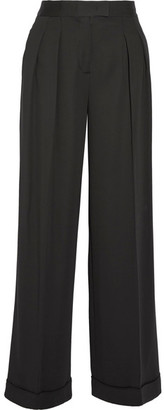 DKNY - Pleated Stretch-twill Wide-leg Pants - Black $500 thestylecure.com