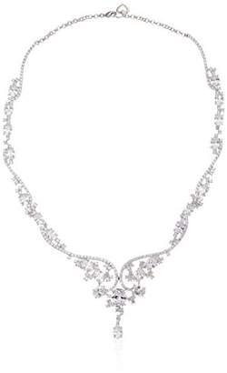 Fine Silver Plated Bronze Cubic Zirconia Y-Necklace