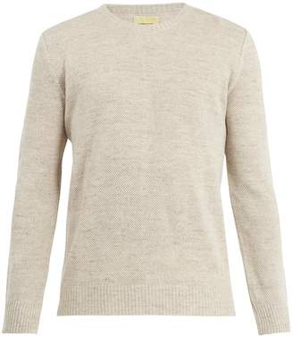 DE BONNE FACTURE Crew-neck knitted linen-blend sweater