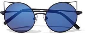 Matthew Williamson Round-Frame Metal And Acetate Mirrored Sunglasses