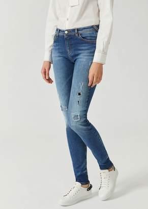 Emporio Armani J28 Super Skinny Ripped Stone Washed Denim Jeans