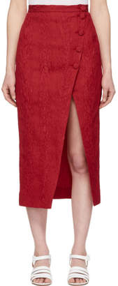 ALEXACHUNG Red Front Split Pencil Skirt