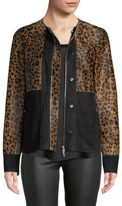 Lafayette 148 New York Suki Zip-Front Suede & Leopard-Print Calf Hair Jacket