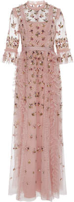 Needle & Thread Rococo Floral-Embroidered Tulle Gown