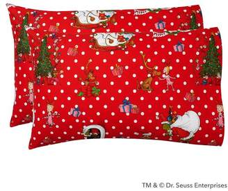 Pottery Barn Teen Grinch & Festive Flannel Sheet Set, Extra Pillowcases, Set of 2, Red