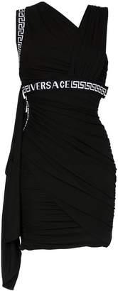 Versace asymmetric neck logo mini dress