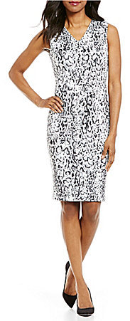 Calvin KleinCalvin Klein V-Neck Snake Skin Print Dress