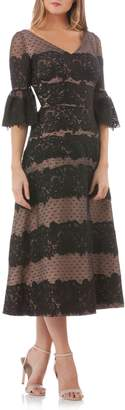 JS Collections Embroidered Lace Tea Length Dress