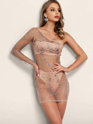 Shein Joyfunear One Shoulder Rhinestone Detail Sheer Mesh Dress