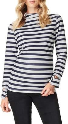 SUPERMOM Stripe Mock Neck Maternity Top