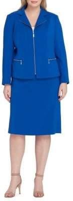 Tahari Arthur S. Levine Floral Notch Collar Jacket and Skirt Suit