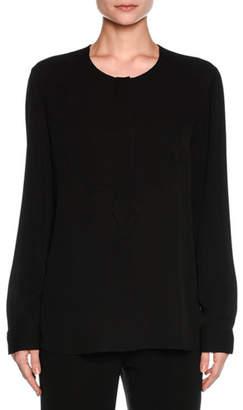 Giorgio Armani Cravat-Detail Tuxedo Blouse, Black