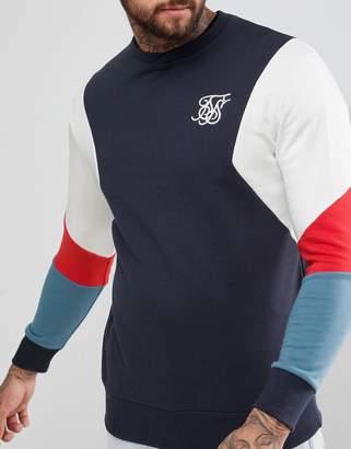SikSilk Retro Sweatshirt In Navy With Contrast Sleeves
