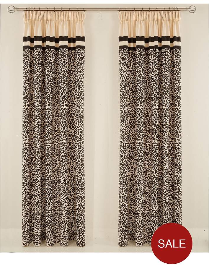 Myleene Klass Home Animal Print Hidden Tab Lined Curtains