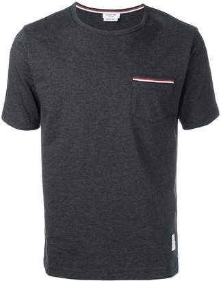Thom Browne Short Sleeve T-Shirt With Chest Pocket In Charcoal Jersey