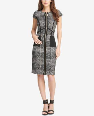 DKNY Zip-Front Tweed Sheath Dress