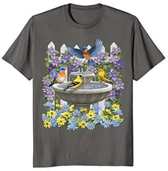 Bluebirds Goldfinches & Bird Bath T-shirt