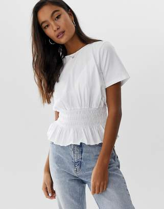 5b4275ad8237f0 Asos Design DESIGN t-shirt with shirred waist