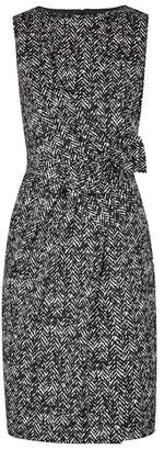 Paule Ka Herringbone Monochrome Jacquard Dress