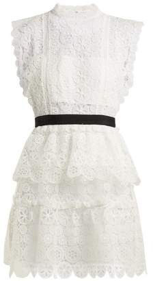 Self-Portrait Self Portrait Floral Lace Bandeau Mini Dress - Womens - White
