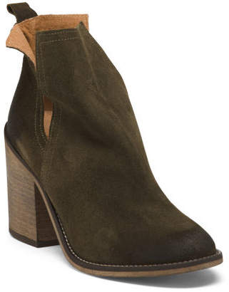 Side Cut Out Suede Heel Booties