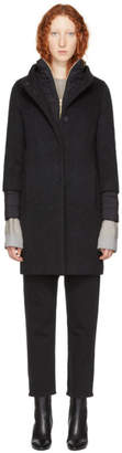 Herno Black Brushed Boucle Cocoon Coat