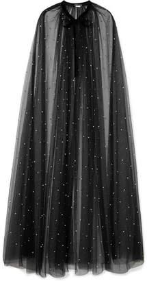 Monique Lhuillier Velvet-trimmed Faux Pearl-embellished Tulle Cape - Black