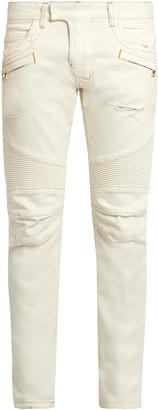 BALMAIN Biker slim-leg jeans $1,010 thestylecure.com
