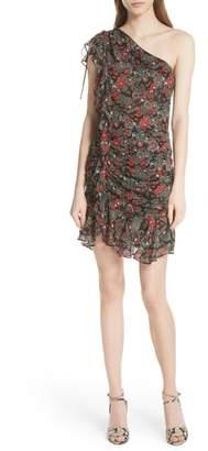 Veronica Beard Ballard Print One-Shoulder Silk Dress