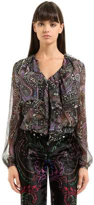 Roberto Cavalli Paisley Printed Silk Shirt With Ruffles