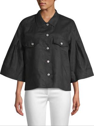 Gold Hawk Women's Linen Wide Sleeve Jacket