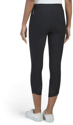 High Waist Capris With Mesh Insets