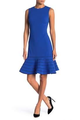 Modern American Designer Ladder Lace Trim Flair Sheath Dress
