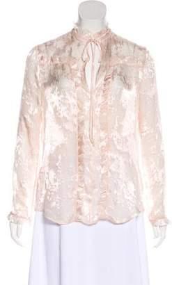 Balenciaga Chiffon Long Sleeve Blouse