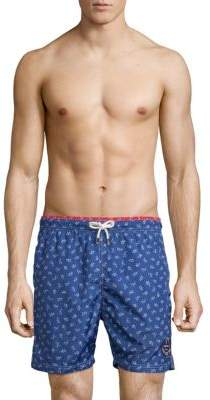 Paul & Shark Whale-Print Swim Trunks