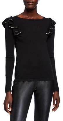 Neiman Marcus Crewneck Long-Sleeve Embellished Ruffle-Shoulder Cashmere Sweater
