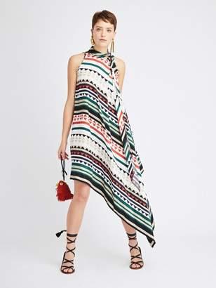 Oscar de la Renta Geometric Stripes King Silk-Twill Dress